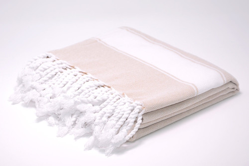 Harbour Island,  Two Tone Turkish Bath Towel in Sand with white details.