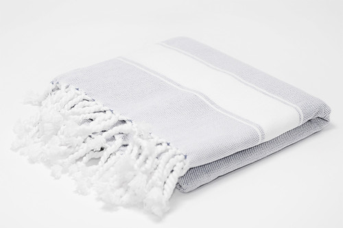 Harbour Island,  Two Tone Turkish Bath Towel in Light Gray with white details.