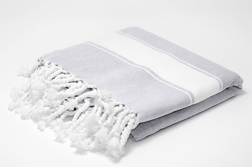 Harbour Island,  Two Tone Turkish Bath Towel in Gray with white details.
