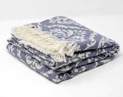 Capri,  Two Tone Turkish Bath/Beach Towel in Navy with white details.
