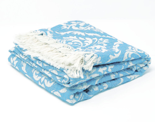 Capri,  Two Tone Turkish Bath/Beach Towel in Turquoise with white details.