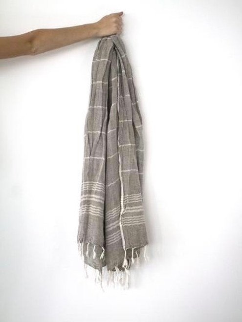 Saint Tropez,  Two tones oversized soft Pareo-Scarf in cotton & linen blend. Tobacco.