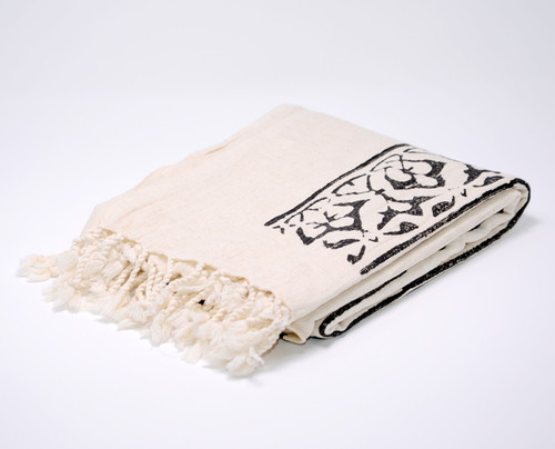 Cyprus Block Printed Towel | Pareo in Black