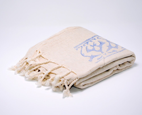 Cyprus Block Printed Towel | Pareo in Blue