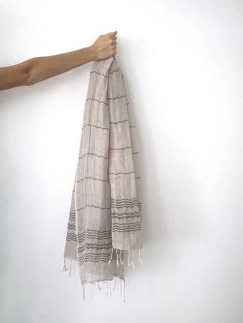 Saint Tropez,  Two tones oversized soft Pareo-Scarf in cotton & linen blend. Sand and Khaki  detail