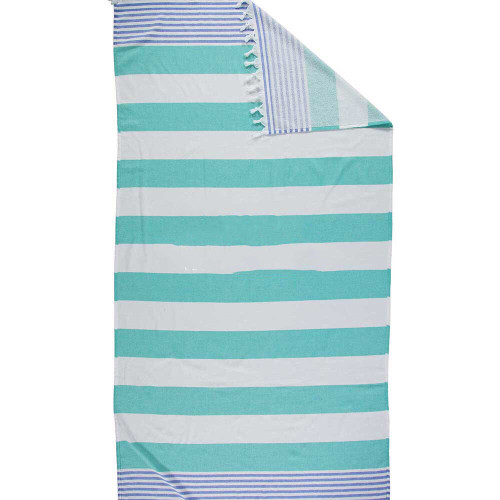 Terry  Anguilla,  Striped Turkish Beach Towel in Sea Green, Royal Blue and White