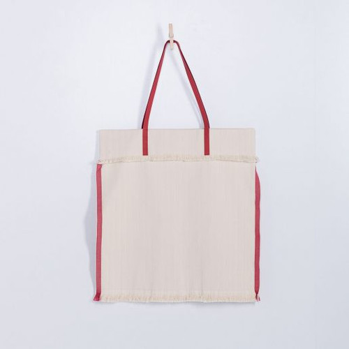 Natural Handloom Frayed Tote Handbag With Red Leather Handle
