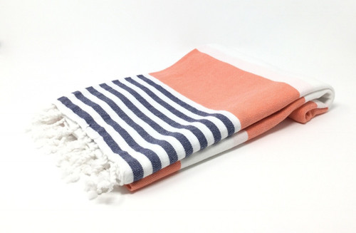 Anguilla,  Striped Turkish Beach Towel in  Coral, Navy and White