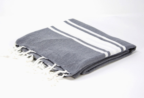 Sanibel,  Turkish Beach Towel in Dark Gray, with a White Stripes