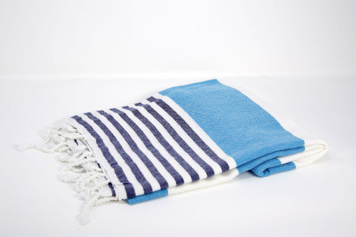 Anguilla,  Striped Turkish Beach Towel in Turquoise, Navy and White