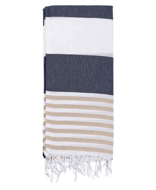 Anguilla,  Striped Turkish Beach Towel in Navy, Sand and White