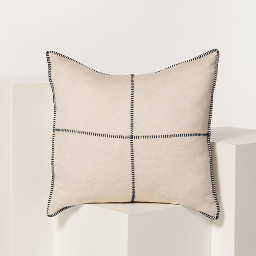 Natural Whip Stitch Pillow 28 x 28 BLACK