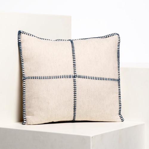 Natural  Whip Stitch Pillow 18 x 18 Black