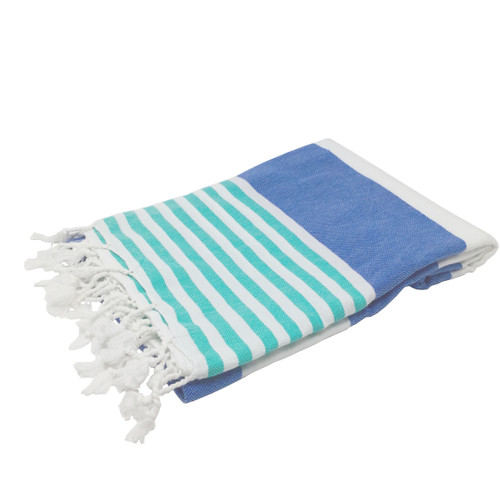 Anguilla,  Striped Turkish Beach Towel in Royal Blue, Sea Green and White