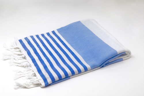Turkish Beach Towel Sky Blue -Royal Blue