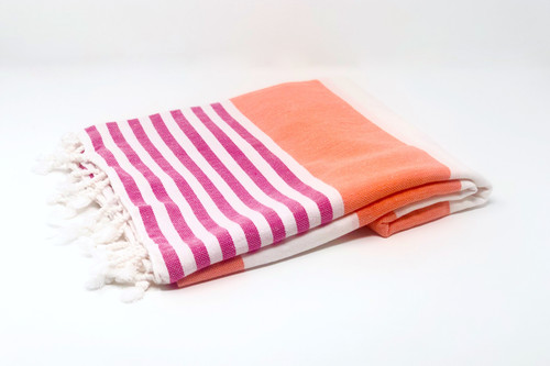 Anguilla,  Striped Turkish Beach Towel in Coral, Pink and White