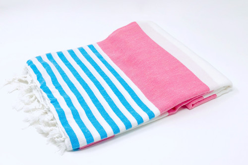 Anguilla,  Striped Turkish Beach Towel in Pink, Turquoise and White