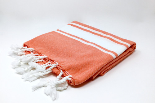 Sanibel,  Turkish Beach Towel in Coral, with a White Stripes