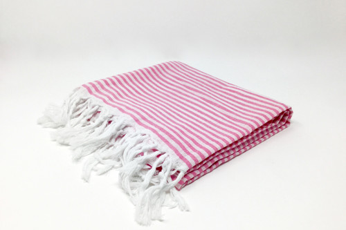 St. Thomas,  Striped Turkish Beach Towel in Pink and White