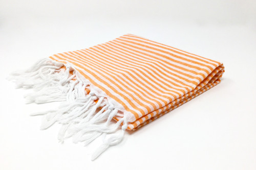 St. Thomas,  Striped Turkish Beach Towel in Orange and White