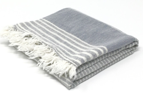 Vieques, Meditation Scarf Ash Black Striped