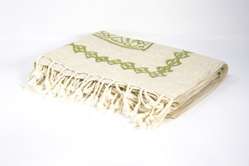 Block Pronted Coverlets in Olive Green