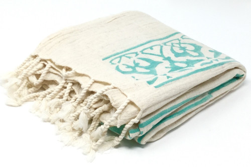 Cyprus Block Printed Towel | Pareo in Teal
