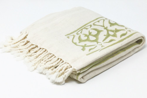 Cyprus Block Printed Towel | Pareo in Olive