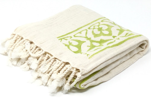 Cyprus Block Printed Towel | Pareo in Pistachio
