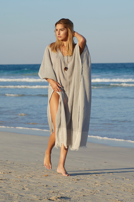 Eleuthera V -Neck Beach Caftan Cotton Voile Charcoal Grey