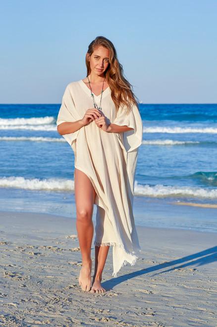 Eleuthera V -Neck Beach Caftan Cotton Voile Natural