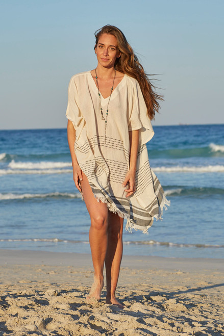Eleuthera V -Neck Beach Tunic Cotton Voile Natural