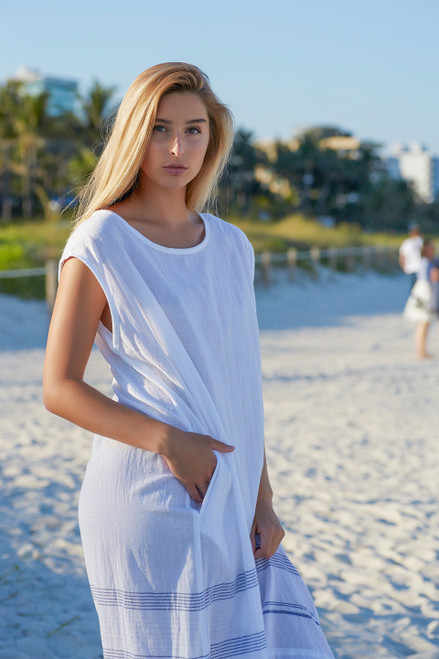 Nantucket Beach Dress Cotton Voile White with Blue Accent