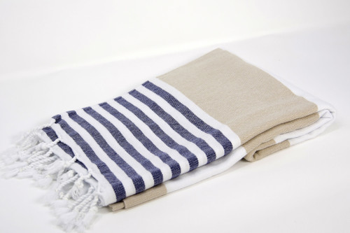 Anguilla,  Striped Turkish Beach Towel in Sand, Navy and White