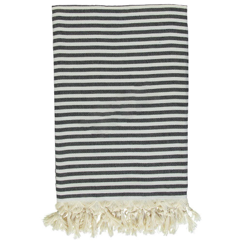 Cannes Stripe Throw Black and White