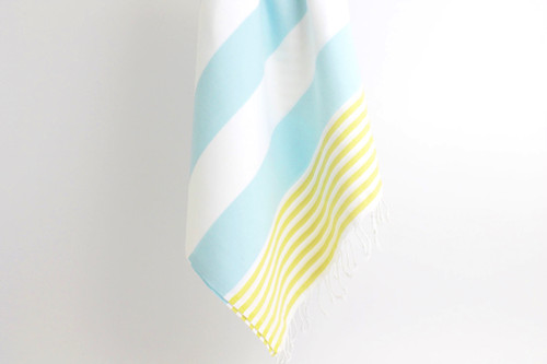 Terry  Anguilla,  Striped Turkish Beach Towel in Mint, Yellow and White