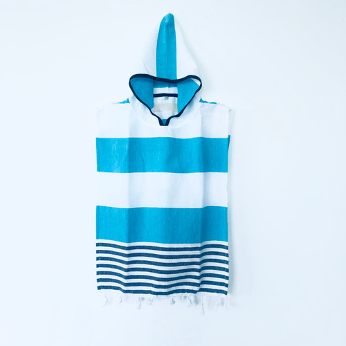 Hooded Kids Ponchos Cabana Stripe Turquoise and White, Navy