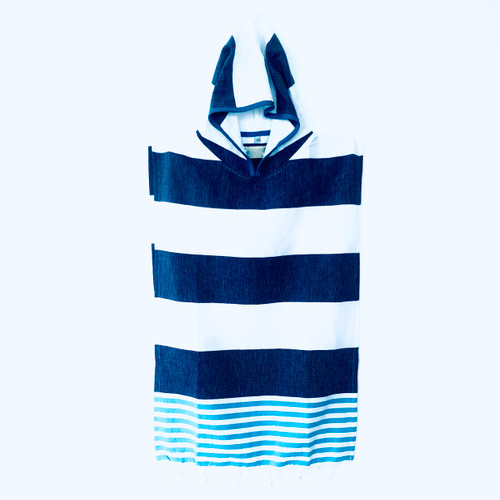 Hooded Kids Ponchos Cabana Stipe Navy and White, Turquoise