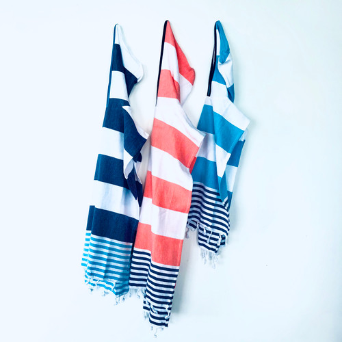 Hooded Kids Ponchos Cabana Stipe Coral and White,Navy