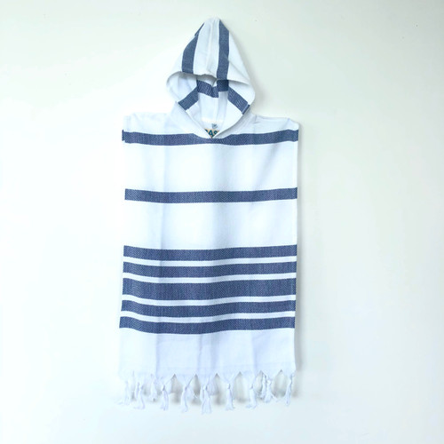 Hooded Kids Ponchos Marine Stripe Navy and White