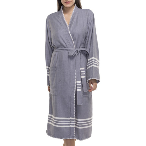 Ultralight Hand-Loomed Bathrobe Dark Grey and off-white accents