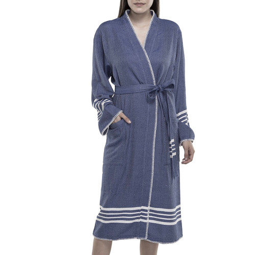 Ultralight Hand-Loomed Bathrobe Navy and off-white accents