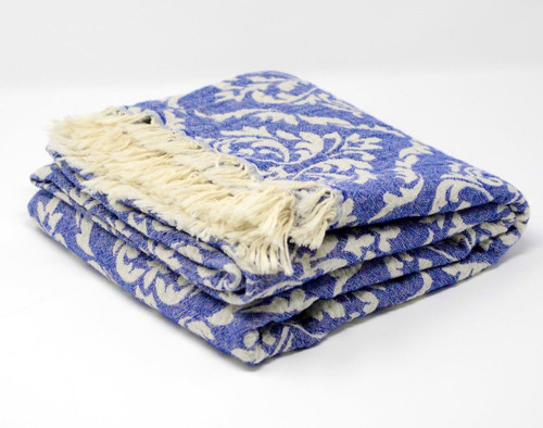 Capri,  Two Tone Turkish Bath/Beach Towel in Royal Blue with white details.