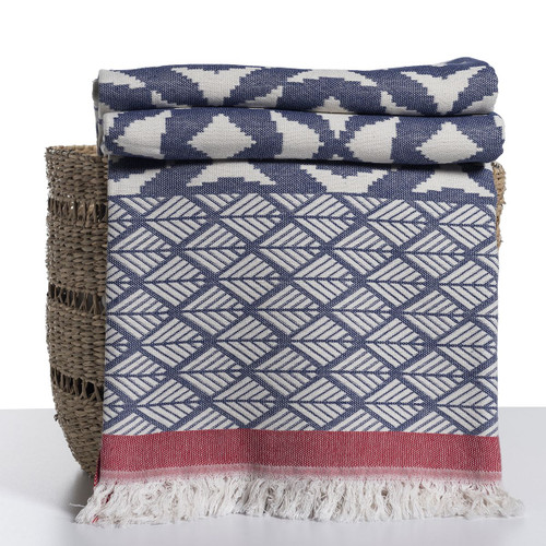 Ikat Design Throw Navy and Red