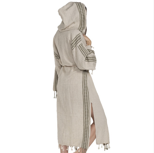 Athens Antik Hooded Kimono, Hand Loomed Natural with Black