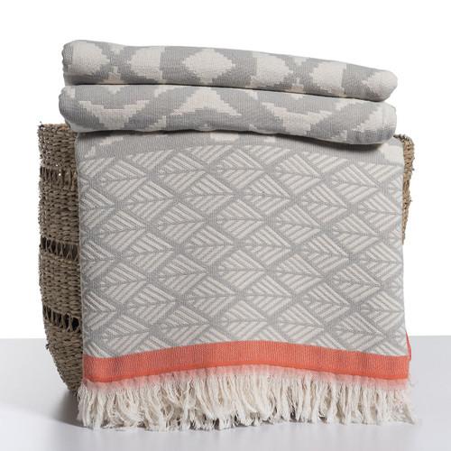 Ikat Design Throw Grey and Coral