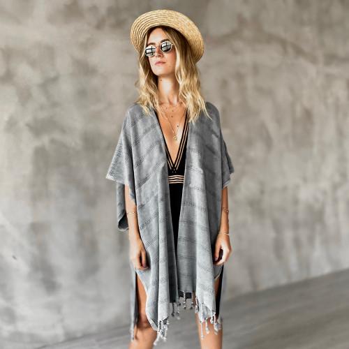 Tulum Hand Loomed Kimono Cover up Stone washed Black