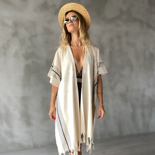Tulum Hand Loomed Kimono Cover up Natural and Black Pinstripe