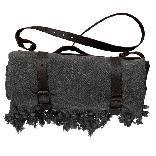 Faux Leather Blanket Carrier / Coffee