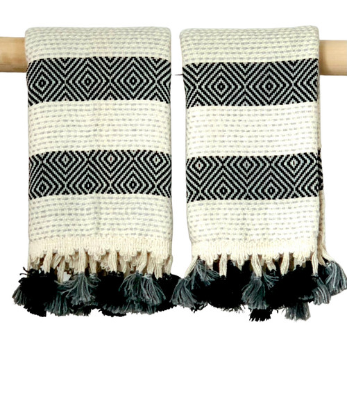 Hand Loomed Hand Towel Black and Grey (Set)